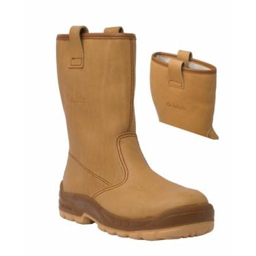 Jallatte Jalfrigg Tan Leather Rigger Boot, with Composite Toe Caps and Midsole METAL FREE