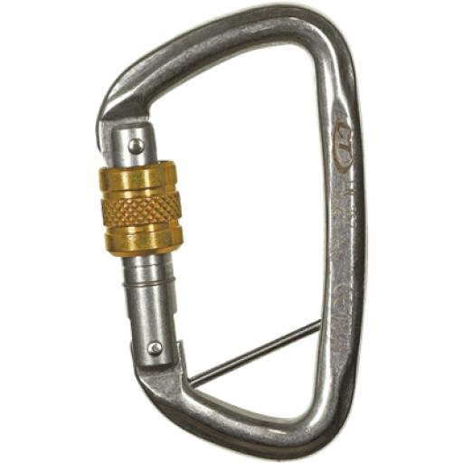 D-shape Stainless Steel Screwgate Carabiner with Captive Pin