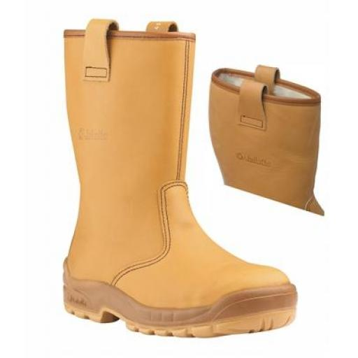 Jallatte Jalartic Tan leather Rigger Boot, with Steel Toe Caps and Midsole - Fur Lined