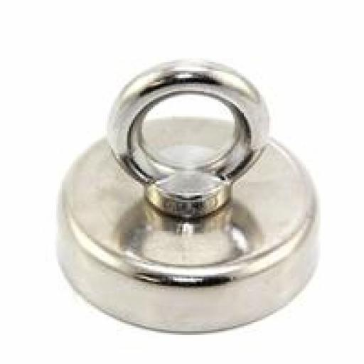 60mm dia Neodymium Pot Magnet with Stainless Eye - 139kg pull